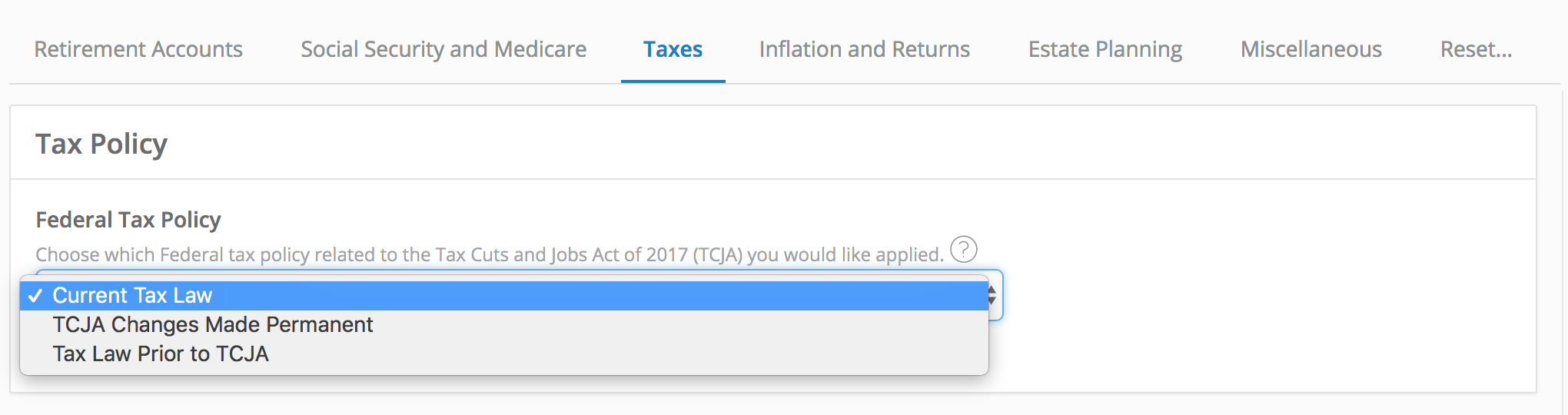 Tax Policy Setting on Settings and Assumptions Taxes Tab